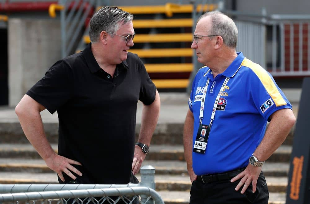 Collingwood president Eddie McGuire and West Coast CEO Trevor Nisbett before a NAB AFL Women's game. Picture: AFL Photos