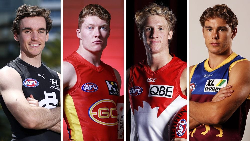 2019 draftees Sam Philp, Matt Rowell, Dylan Stephens and Deven Robertson are vying for a round one spot. Pictures: AFL Photos