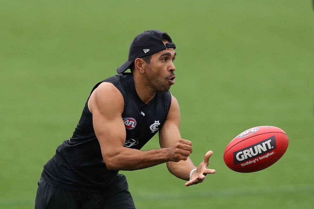 Eddie Betts at training in February. Picture: Getty Images
