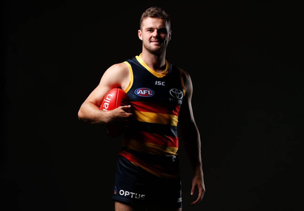 Brad Crouch of the Crows poses for a photo during Adelaide's team photo day. Photo: Michael Willson