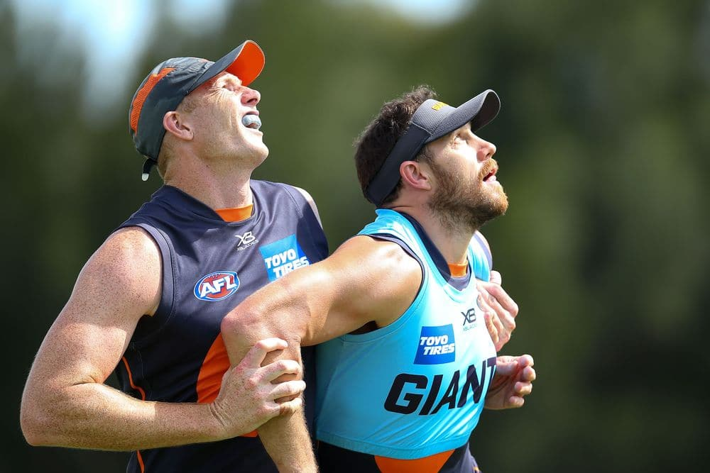 Giants ruckmen Sam Jacobs and Shane Mumford compete during a pre-season training session. Photo: Getty Images