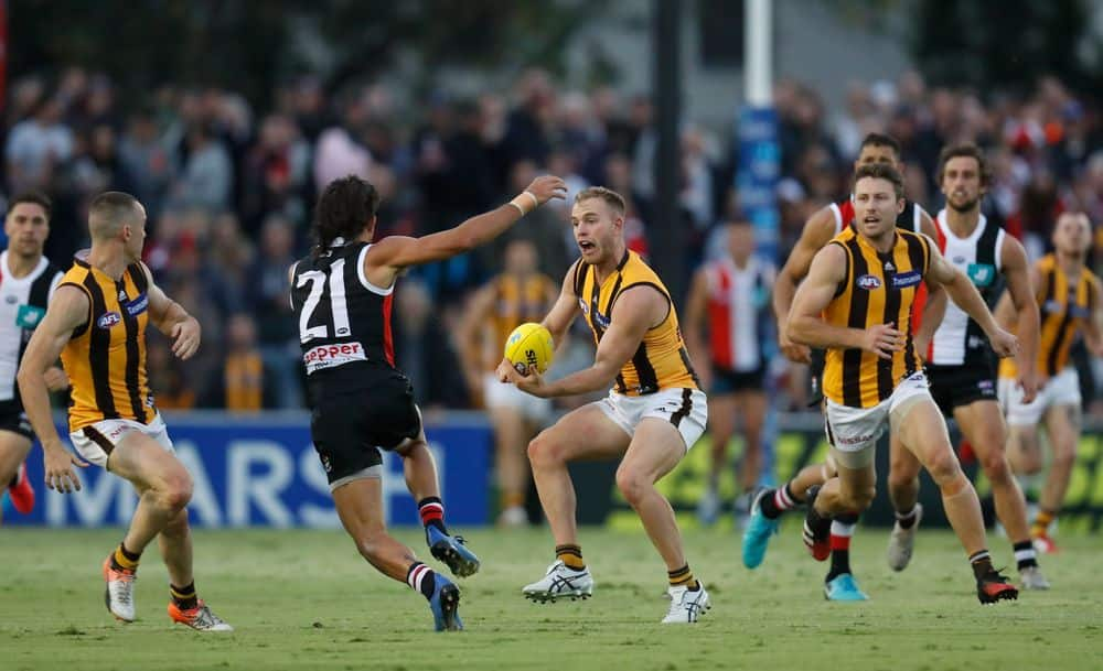 Hawks star Tom Mitchell in action against the Saints last week. Picture: AFL Photos