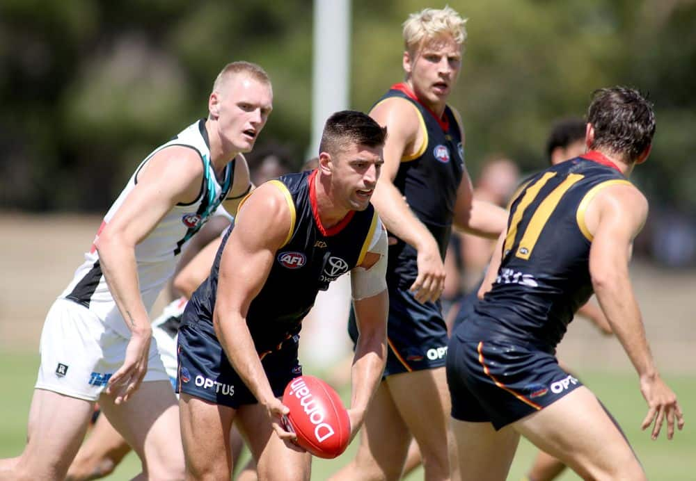 The Crows and Power during a scratch match in February. Picture: AFL Photos