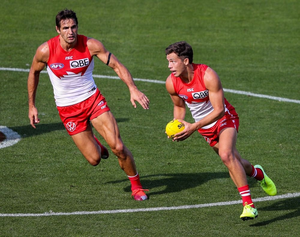 Swans co-captain Josh Kennedy watches teammate Oliver Florent in round one against Adelaide. Picture: AFL Photos