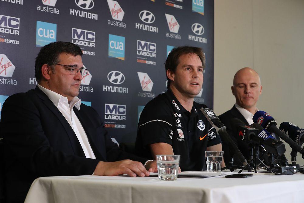 Carlton president Mark LoGiudice, coach David Teague and CEO Cain Liddle. Picture: AFL Photos