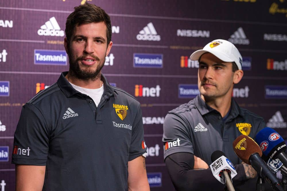 Ben Stratton and Chad Wingard at a press conference in 2019. Picture: AFL Photos