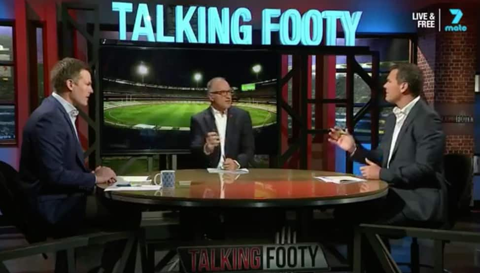Luke Darcy, Tim Watson and Wayne Carey on Talking Footy. Picture: Channel Seven