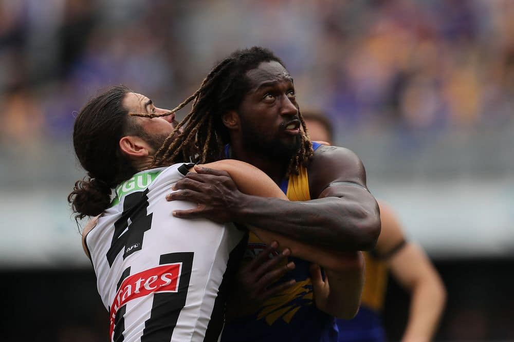 Brodie Grundy and Nic Naitanui during the R8 clash between West Coast and Collingwood at Optus Stadium in July. Picture: Getty Images