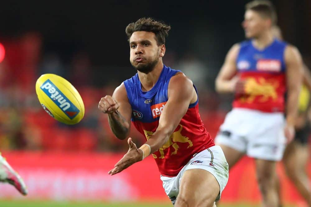 Lion Callum Ah Chee in action against the Tigers. Picture: Getty Images/AFL Photos