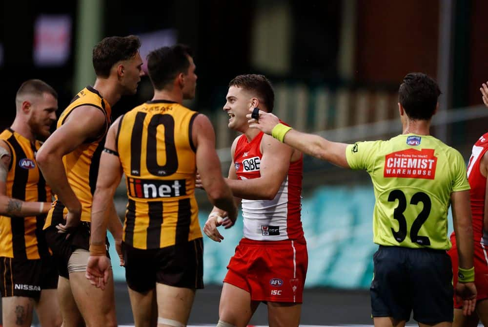 Tom Papley celebrates receiving a free kick against Hawthorn. Picture: Ryan Pierse/AFL Photos