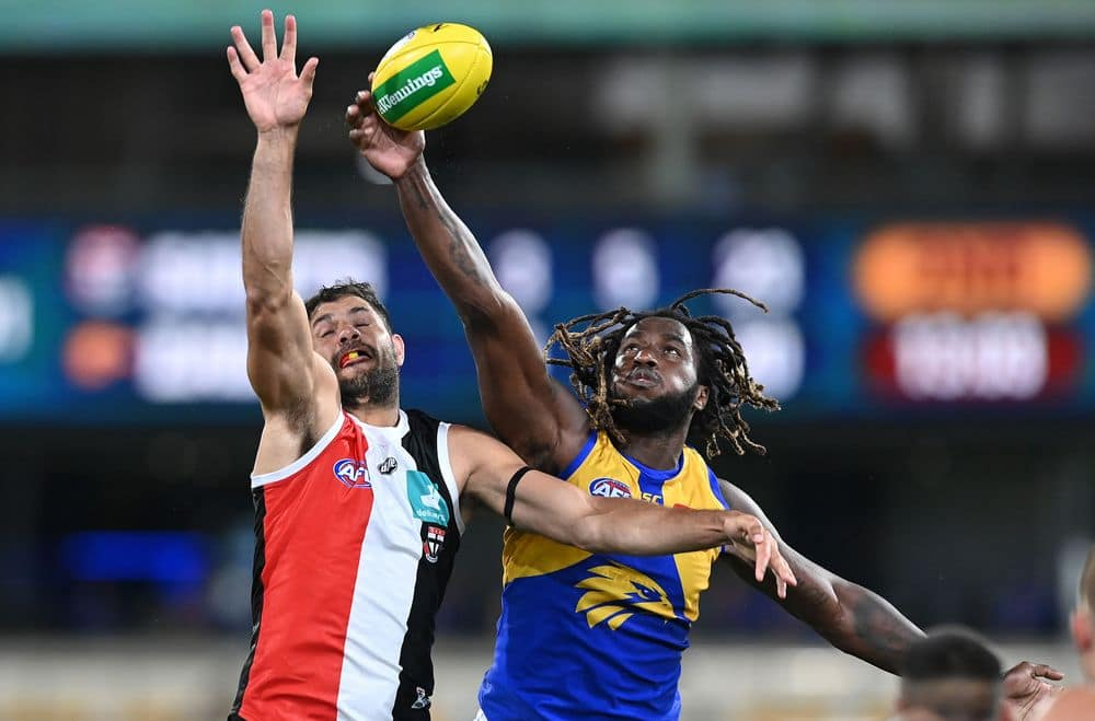 Paddy Ryder and Nic Naitanui in a ruck contest. Picture: AFL Photos