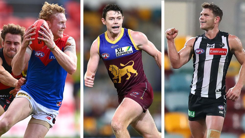Clayton Oliver, Lachie Neale and Taylor Adams were the top three Fantasy scorers in 2020. Picture: AFL Photos