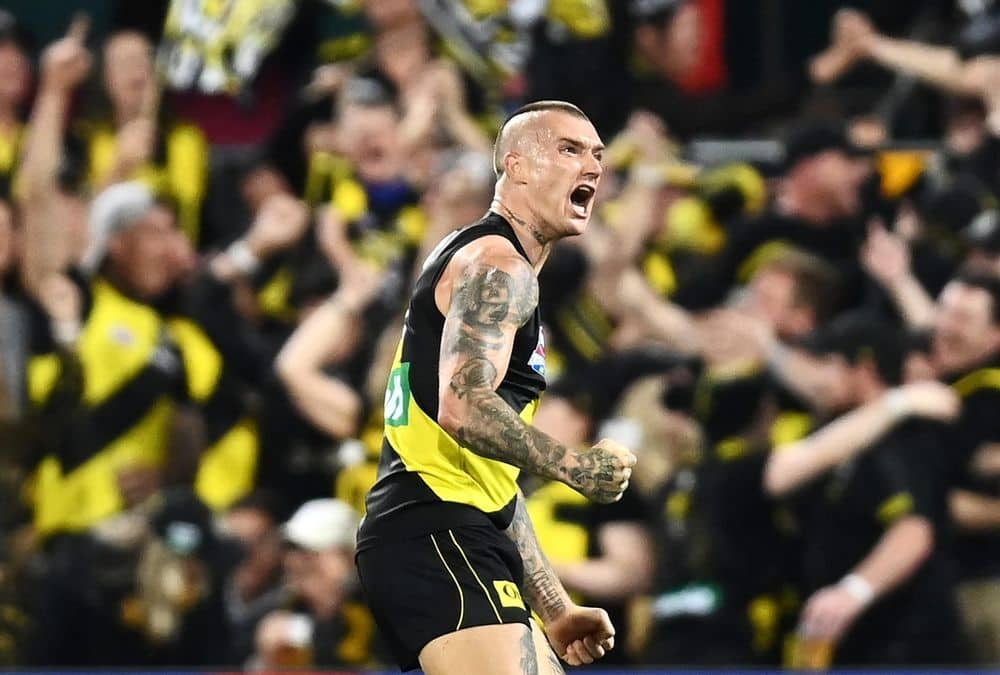 Dustin Martin celebrates a goal during Richmond's win over Geelong in the Grand Final. Picture: Quinn Rooney, Getty Images/AFL Photos
