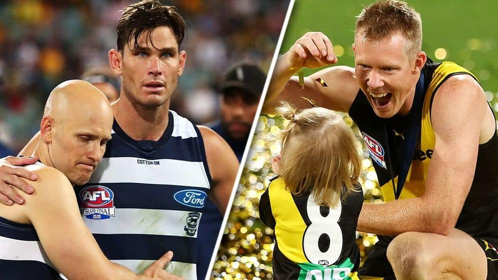 Geelong's Gary Ablett and Tom Hawkins after the final siren; Richmond's Jack Riewoldt plays with his daughter on the Gabba. Pictures: AFL Photos