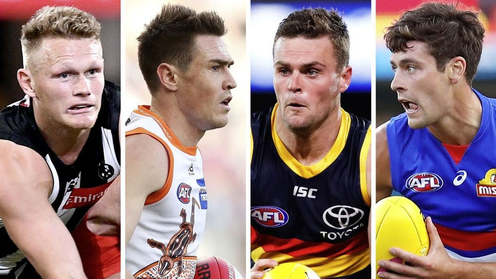 Adam Treloar, Jeremy Cameron, Brad Crouch and Josh Dunkley. Pictures: AFL Photos