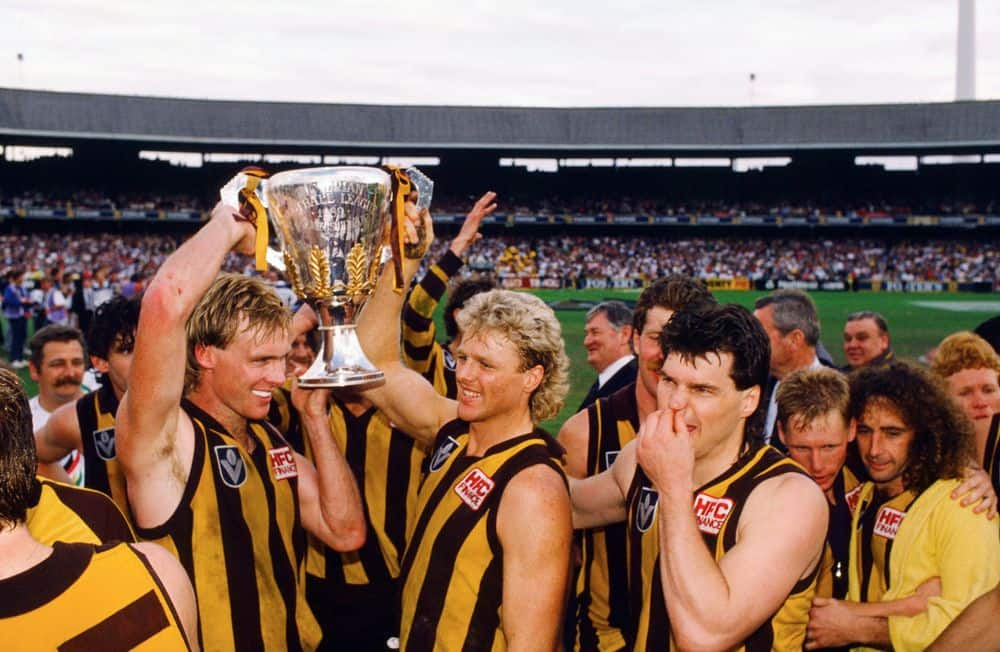 Hawthorn players celebrate their 1989 premiership victory over Geelong at the MCG. Picture: AFL Photos