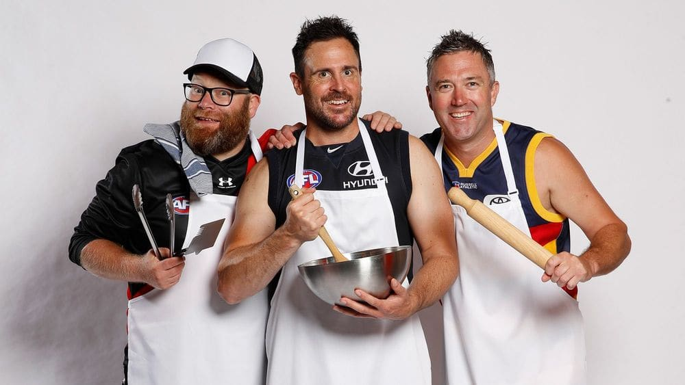 Warnie, Roy and Calvin from The Traders. Picture: AFL Photos