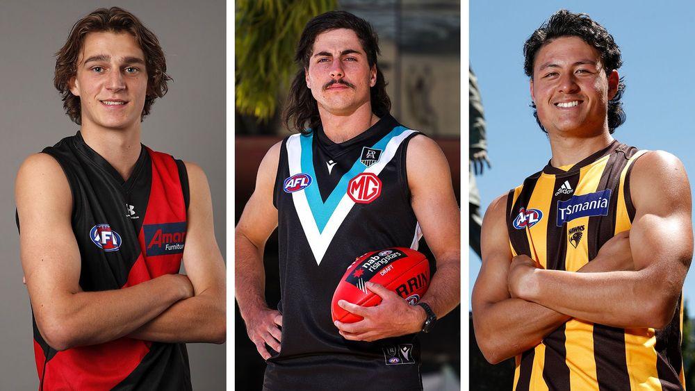 Harrison Jones, Lachie Jones and Connor Downie. Picture: AFL Photos