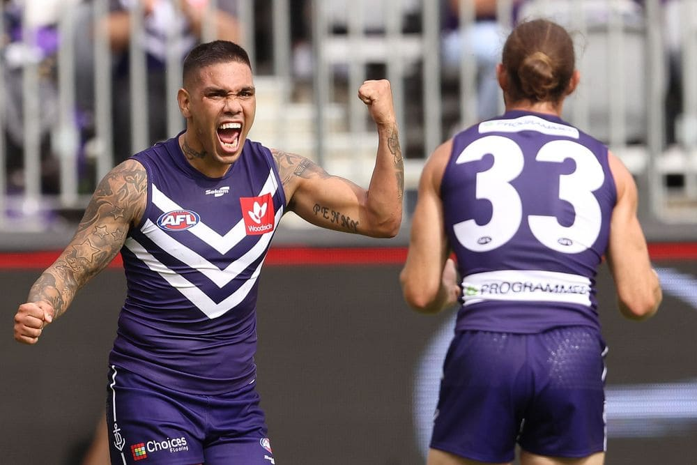 Michael Walters lets his joy be known after kicking a goal. Picture: AFL Photos