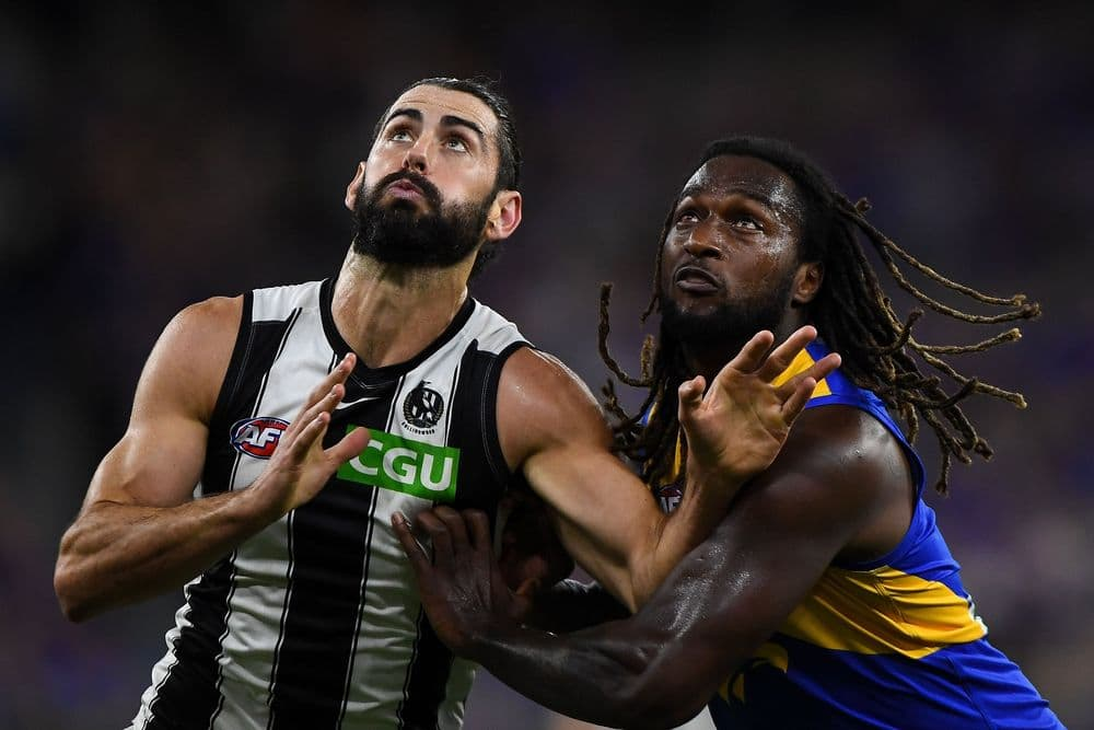 Brodie Grundy competes in a ruck contest with Nic Naitanui in Collingwood's clash with West Coast on April 16, 2021. Picture: AFL Photos