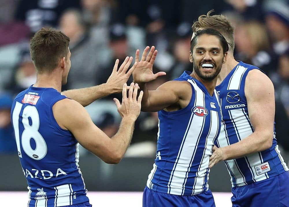 Aaron Hall celebrates a goal against Geelong in round five. Picture: AFL Photos