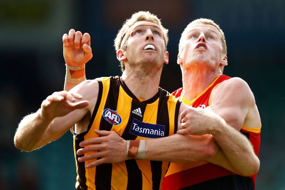 Hawk Ben McEvoy and Crow Reilly O'Brien in action during round six, 2021. Picture: Getty Images