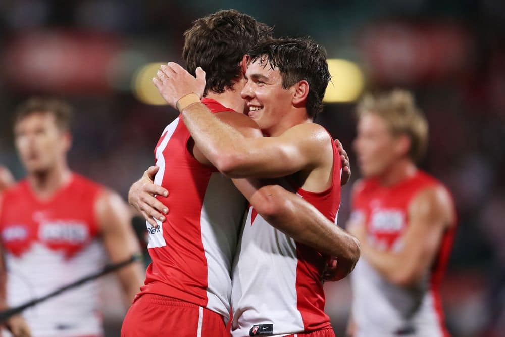 Errol Gulden celebrates the Swans' victory over the Cats in round seven, 2021. Picture: AFL Photos