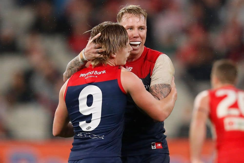 Demons Charlie Spargo (left) and James Harmes celebrate during round eight, 2021. Picture: AFL Photos