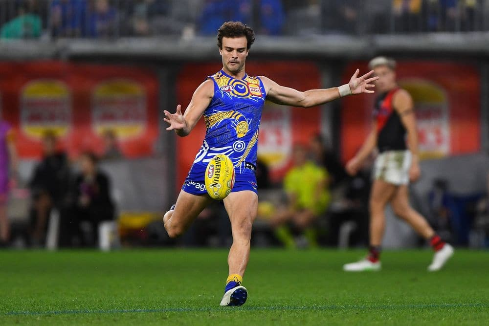 West Coast's Jack Petruccelle kicks the ball against Essendon in R11 on May 29, 2021. Picture: AFL Photos