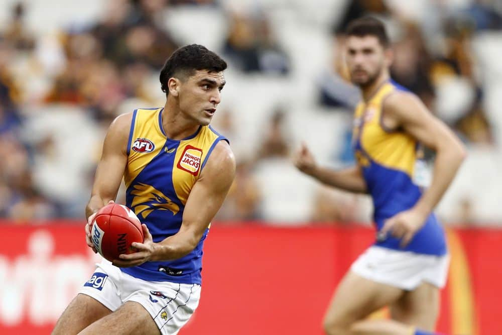 West Coast's Tom Cole in action against Hawthorn in round eight, 2021. Picture: AFL Photos