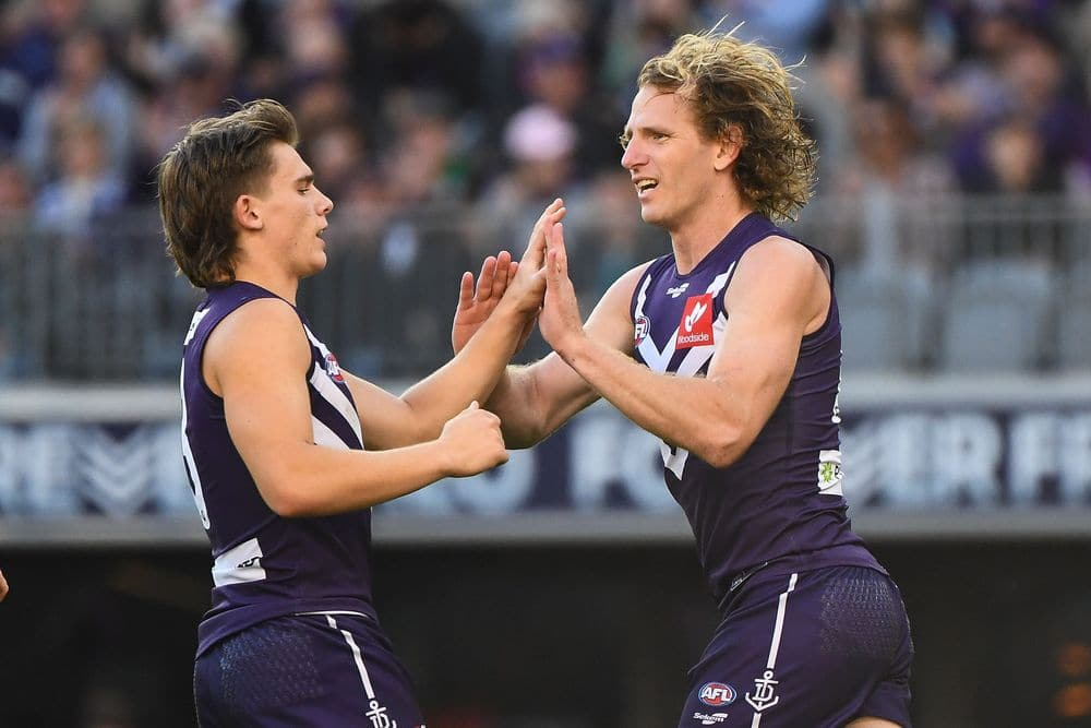 David Mundy of the Dockers celebrates a goal during round 13, 2021. Picture: AFL Photos