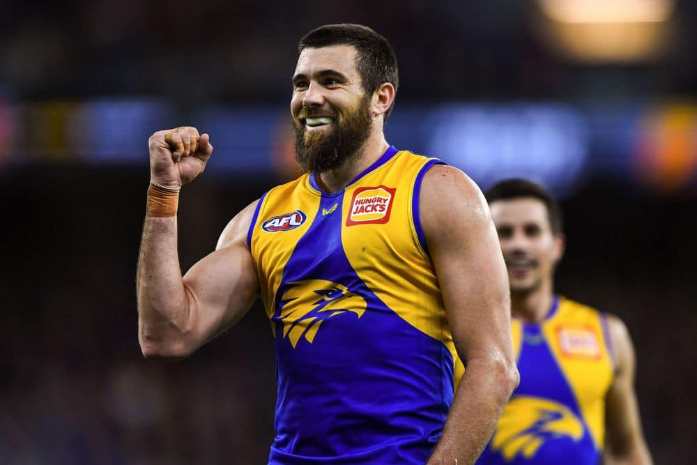 Josh Kennedy celebrates a goal in round 13, 2021. Picture: AFL Photos