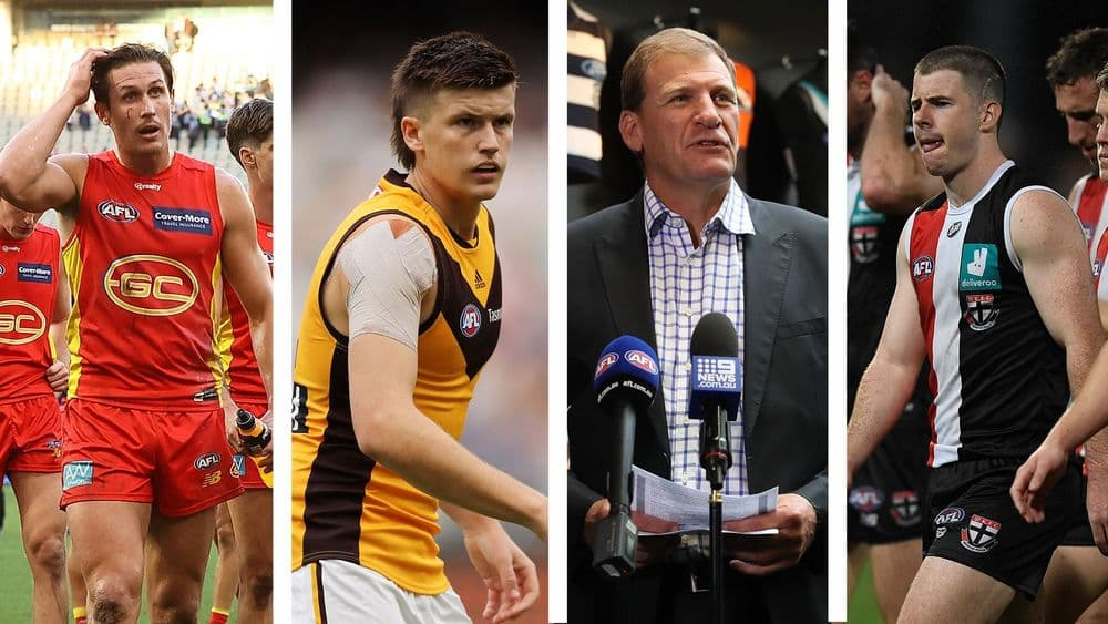David Swallow, Mitch Lewis, Michael Christian and Jack Higgins. Picture: AFL Photos