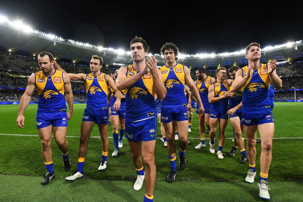 Eagles players leave the field after their win over Richmond in round 13, 2021. Picture: AFL Photos