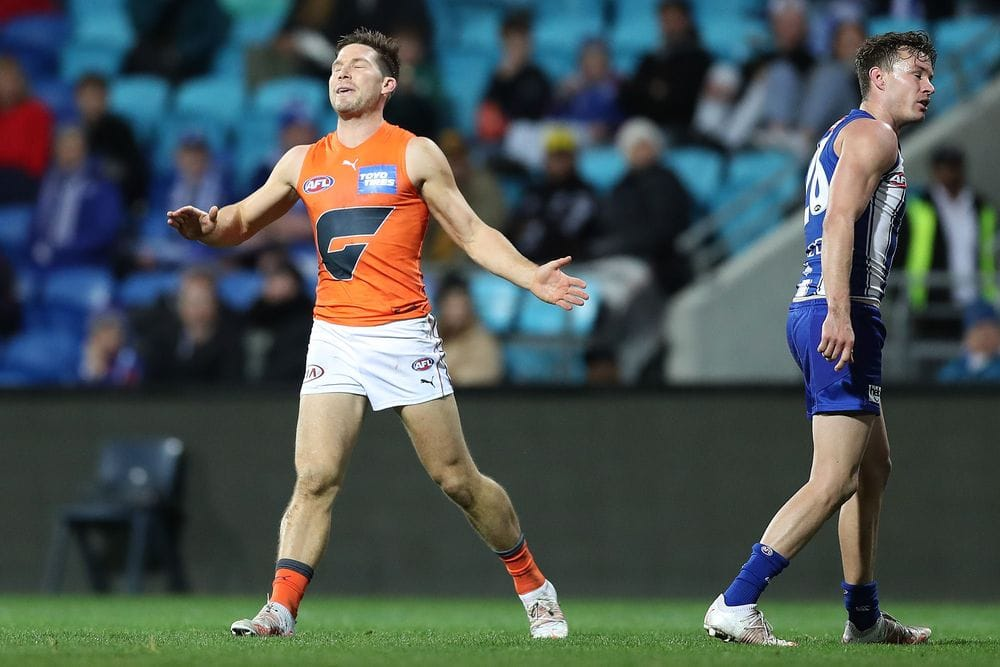 Toby Greene shows his frustration in round 13, 2021. Picture: AFL Photos