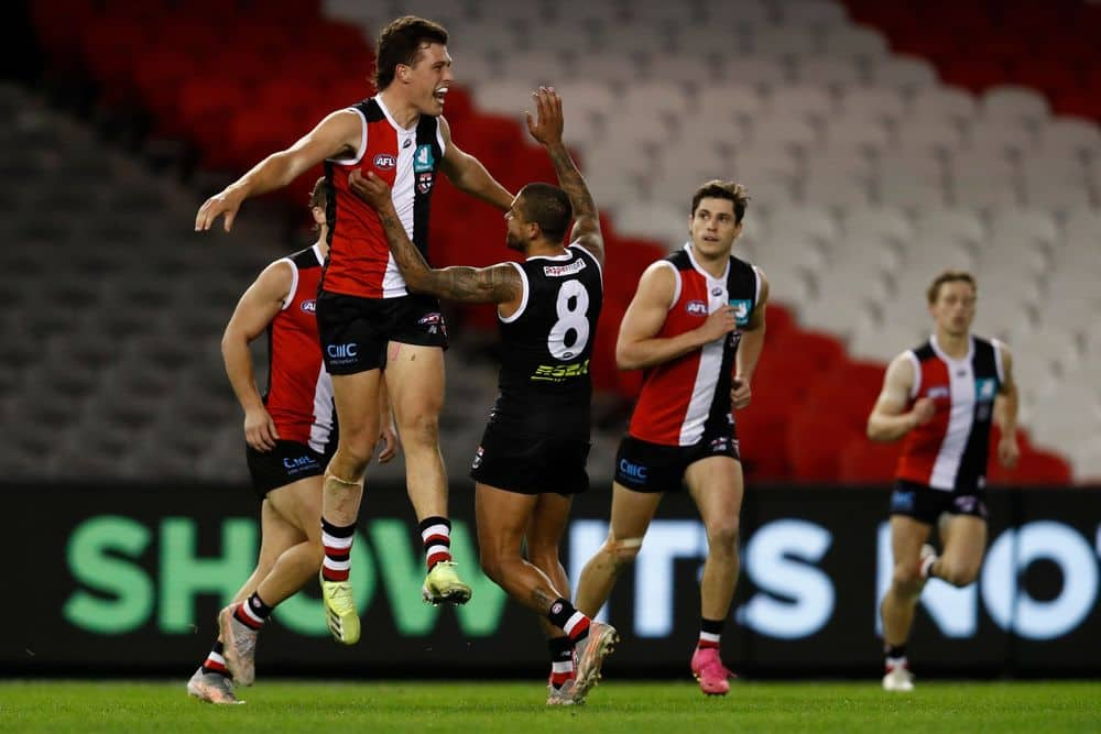 St Kilda's Rowan Marshall celebrates a goal against Port Adelaide in R18, 2021. Picture: Getty Images
