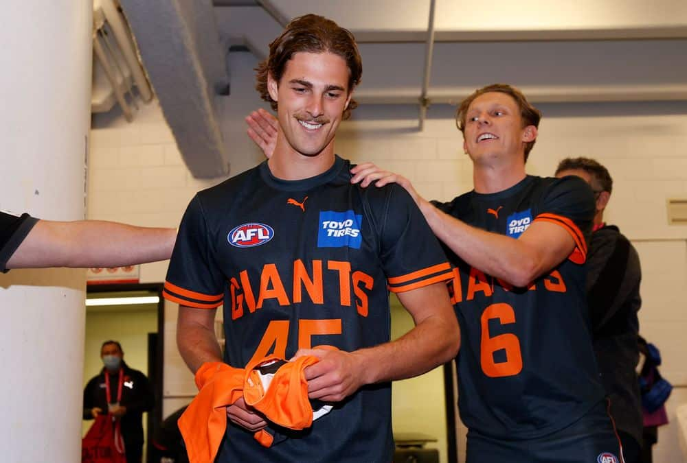 James Peatling before his debut against Port Adelaide in round 20, 2021. Picture: AFL Photos