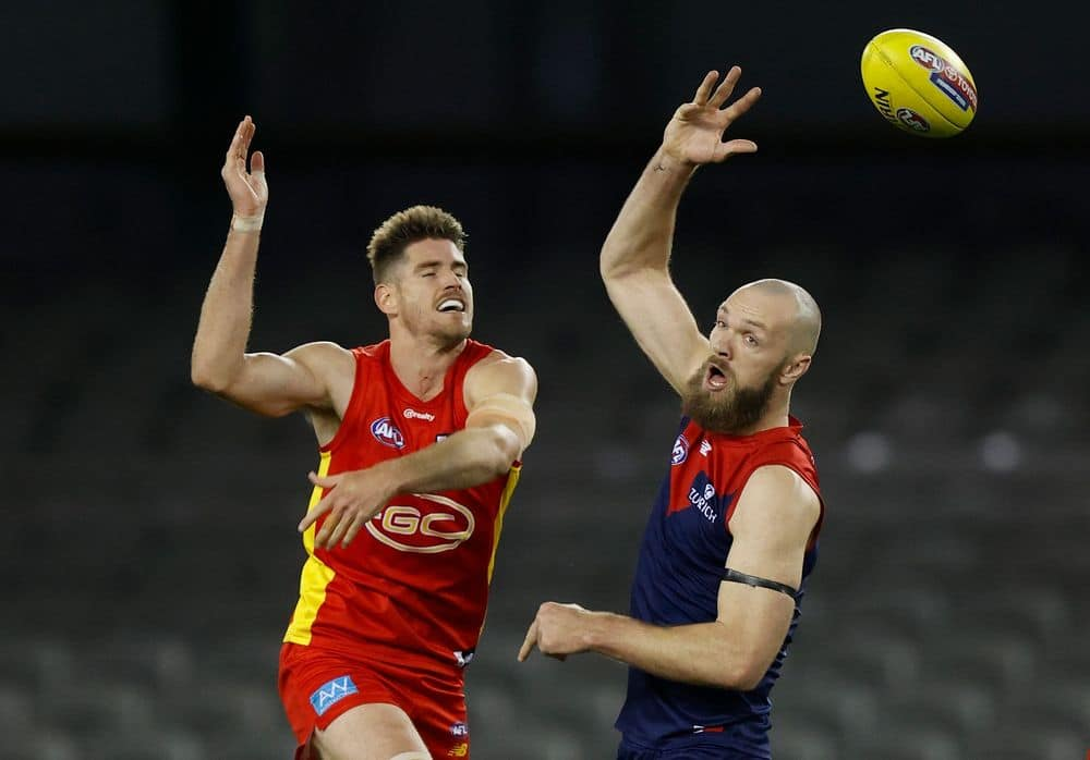Zac Smith and Max Gawn compete in the ruck during round 20, 2021. Picture: AFL Photos