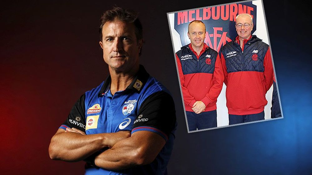 Western Bulldogs coach Luke Beveridge and (inset) Tim Lamb and Jason Taylor in 2015. Pictures: AFL Photos/melbournefc.com.au