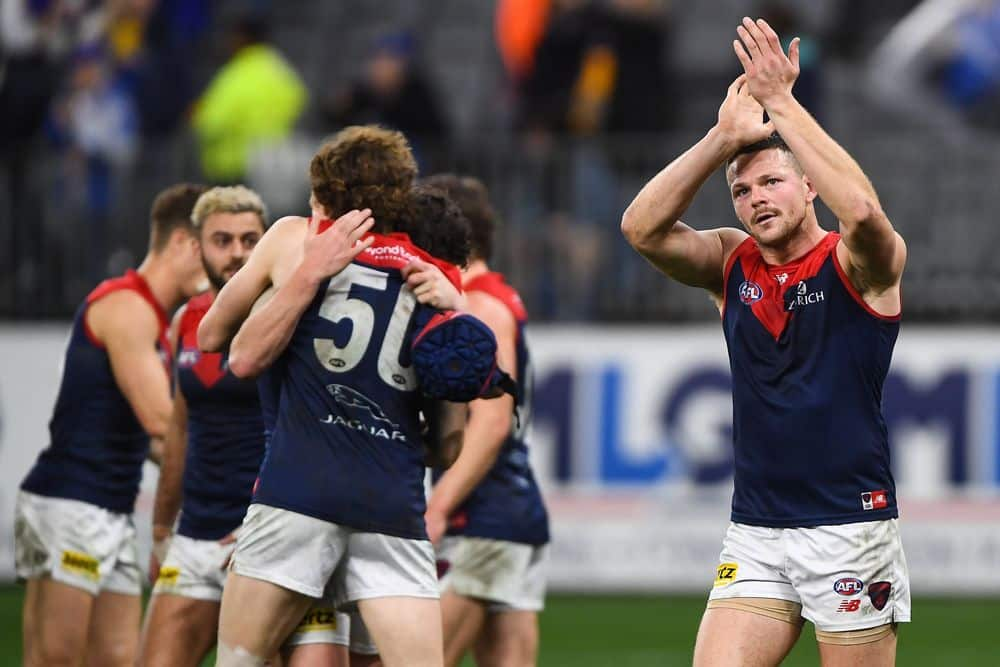 Steven May and the Demons celebrate their win over West Coast in round 21, 2021. Picture: AFL Photos
