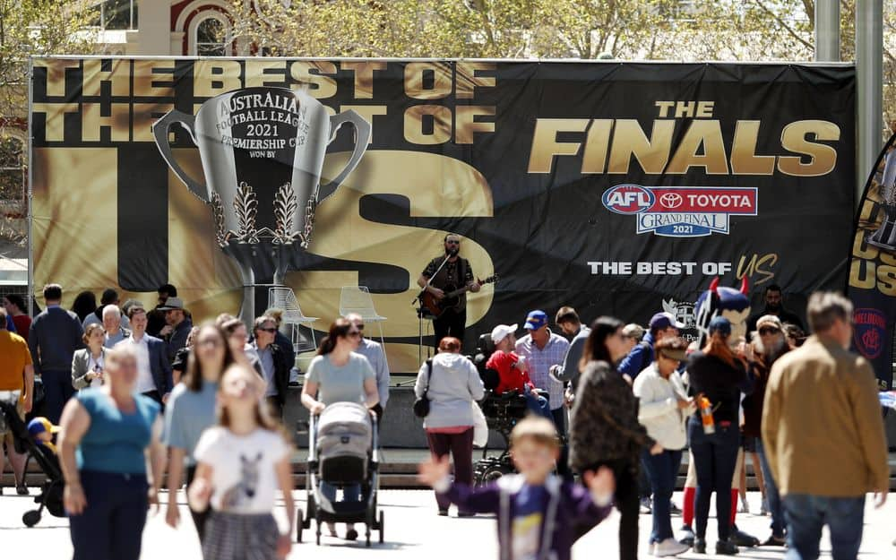 Fans attend Day 1 of the Footy Place Festivities event in Perth on September 20, 2021