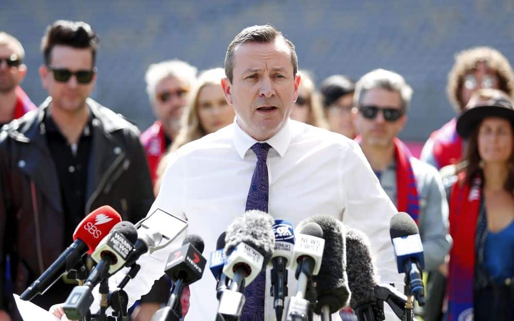WA Premier Mark McGowan speaks to the media on Thursday, September 23. Picture: AFL Photos