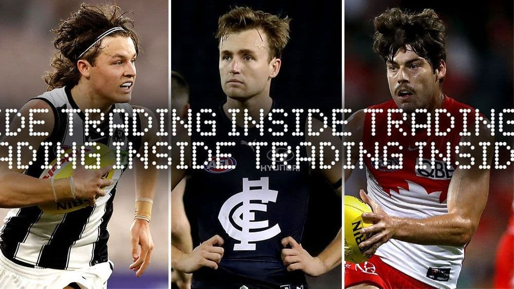 INSIDE TRADING (L-R): Jack Ginnivan, Lochie O'Brien, George Hewett. Pictures: AFL Photos