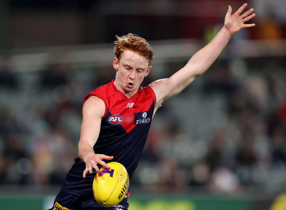 Melbourne's Jake Bowey in action during the 2021 qualifying final win over Brisbane. Picture: AFL Photos